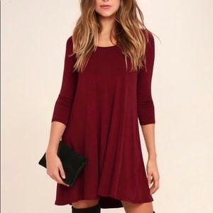Lulus wine swing dress XS